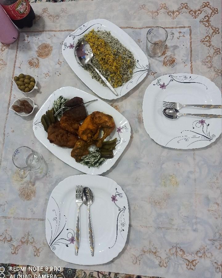 سبزی پلو با ماهی و مرغ