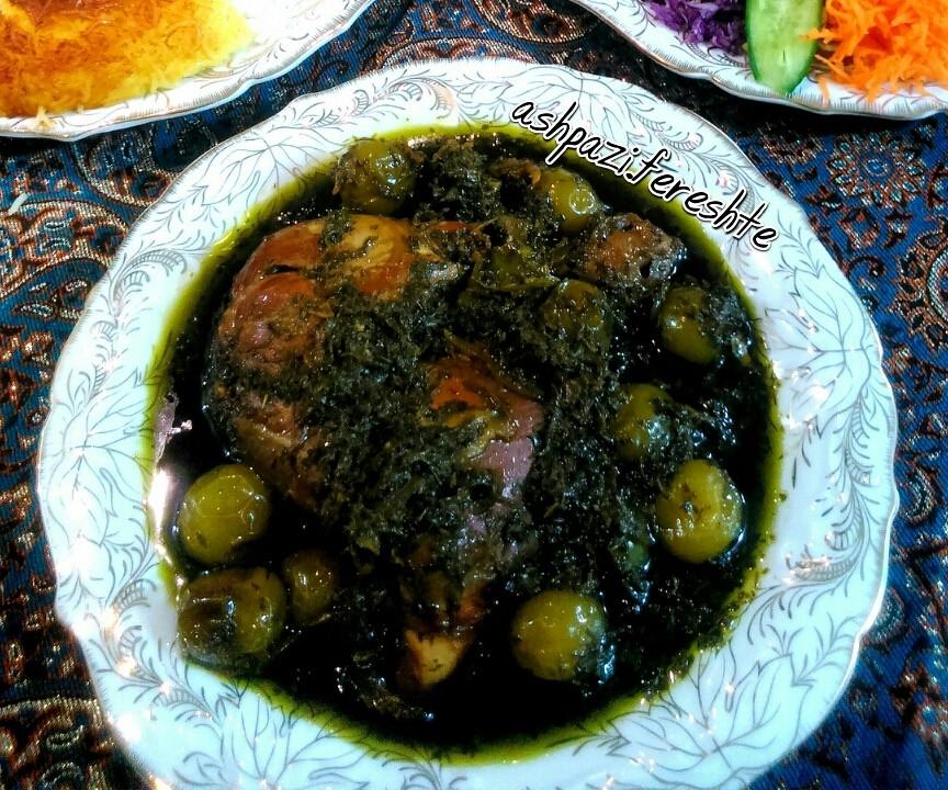 عکس خورش گوجه سبز با مرغ