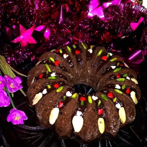 عکس کیک نارگیلی شکلاتی
