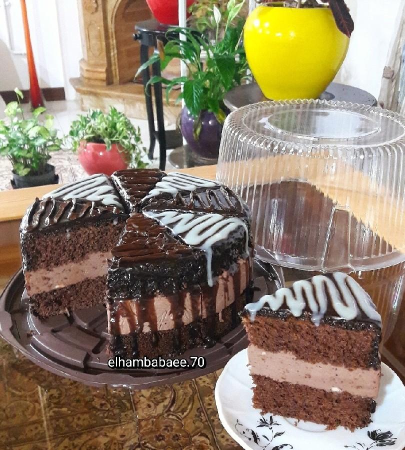 عکس چیز کیک شکلاتی با کیک دوبل
