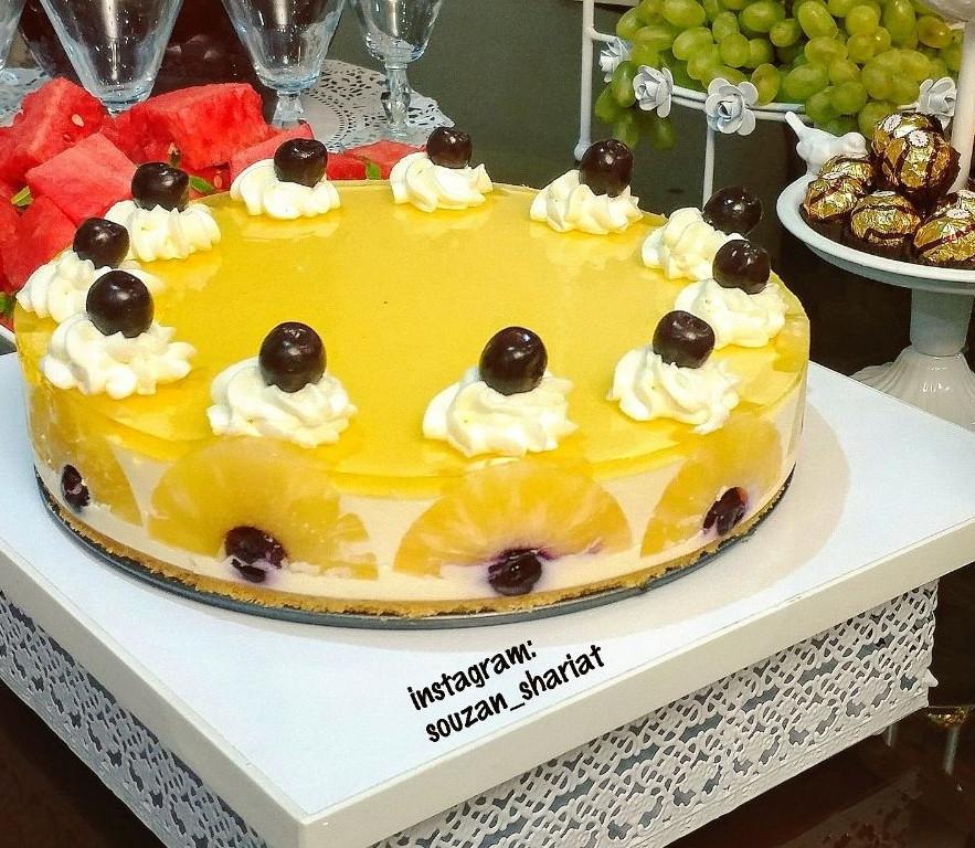 عکس چیز کیک آناناس(با پودر ژله)