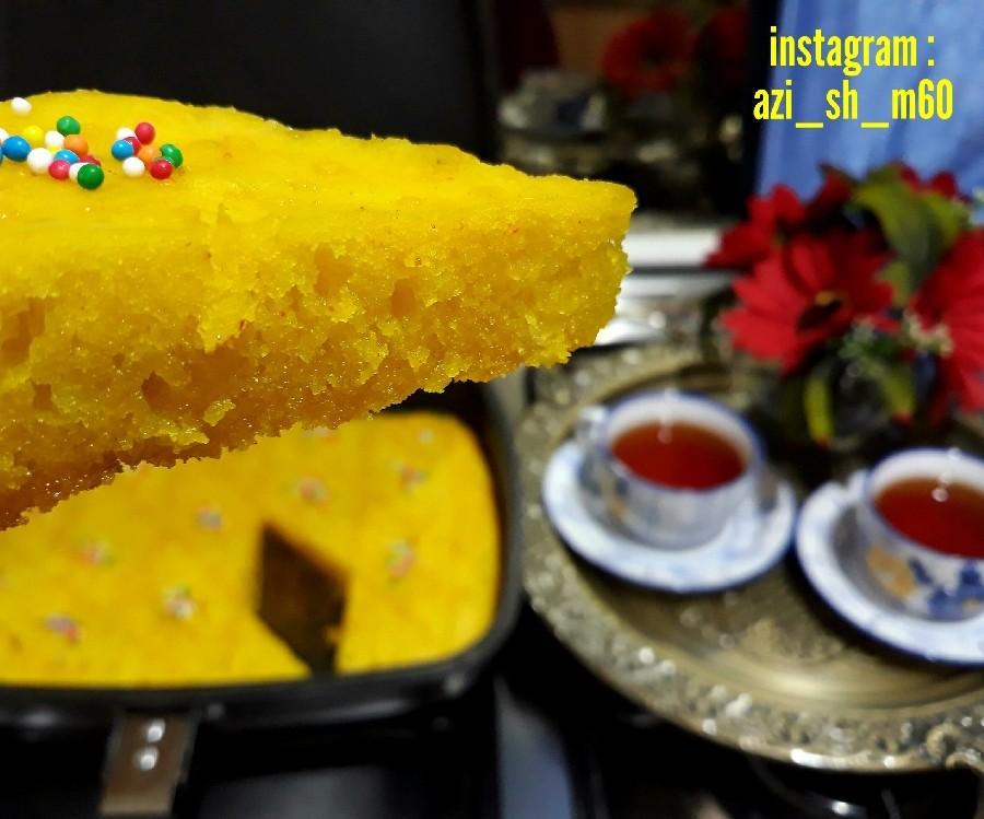 عکس کیک شربتی در تابه دوطرفه (بدون فر)