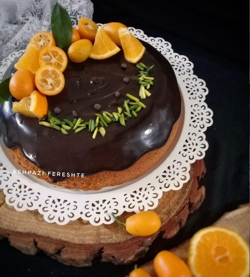 عکس کیک پرتقالی بدون آب پرتقال