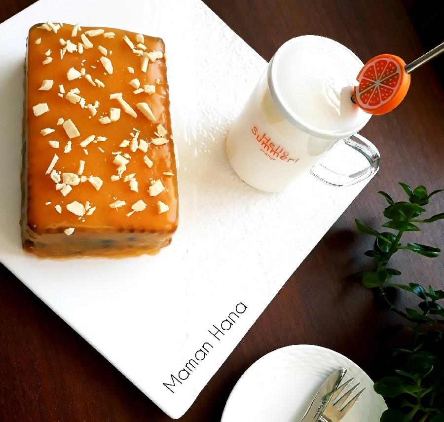 عکس کیک یخچالی پرتقالی