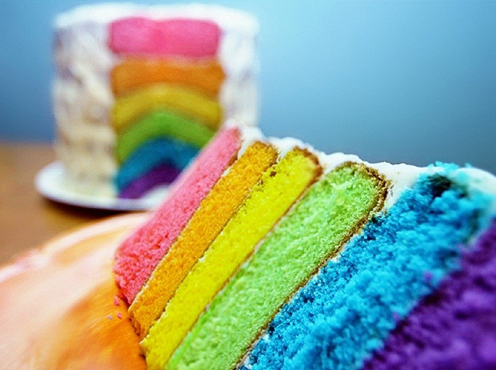 عکس کیک رنگین کمان